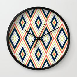 Coral and Navy Chevron Pattern Wall Clock