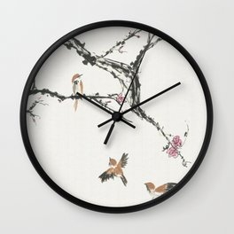 Sparrows & Blossoms Wall Clock