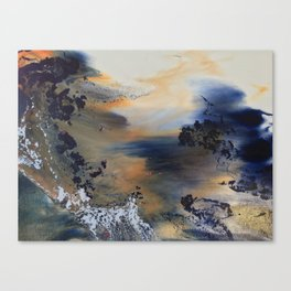 Between the mountains the river runs wid Canvas Print