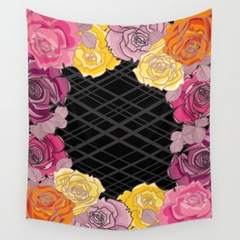 Pink & Yellow Roses Wall Tapestry