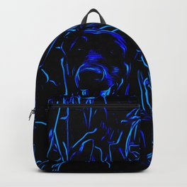 doberman dog red flowers meadow vector art blue conturs Backpack