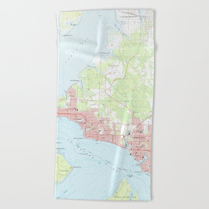 Vintage Map Of Panama City Florida 1956 Beach Towel By