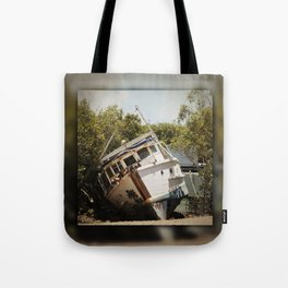 Grounded boat in need of some care Tote Bag