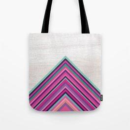 Wood and Bright Stripes, Chevron - Geometric Design Tote Bag