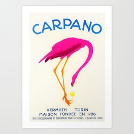 Vintage Carpano Pink Flamingo Motif Vermouth Advertisement Poster Art Print