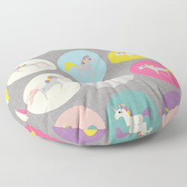 Cute Unicorn polka dots grey pastel colors and linen texture #homedecor #apparel #stationary #kids Floor Pillow