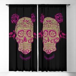 Sugar Skull Green and Pink Blackout Curtain