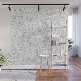 Clockwork B&W / Cogs and clockwork parts lineart pattern Wall Mural