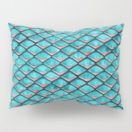 Teal blue and coral pink arapaima mermaid scales Pillow Sham