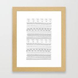 Grey aztec pattern Framed Art Print