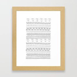 Grey aztec pattern Framed Art Print