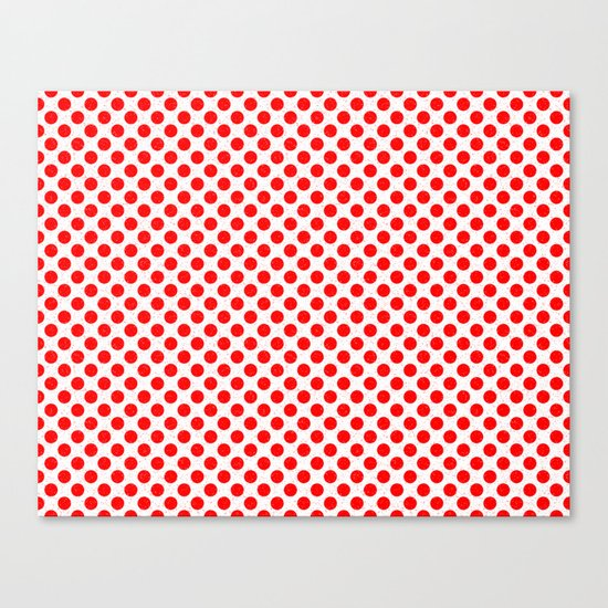 Polka Dot Red and White Pattern Canvas Print
