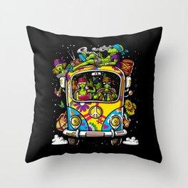 Aliens Hippie Van Peace UFO Throw Pillow