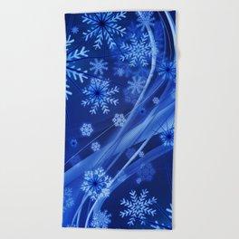 Blue Snowflakes Winter Beach Towel