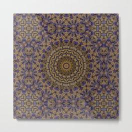 Amethyst and gold  Kaleidoscope Mandala Metal Print