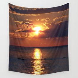 Flaming sky over Sea - Nature at its best Wall Tapestry