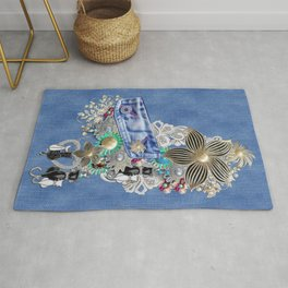 Costume jewelry, Ivory Pearls and White Lace on Blue Denim Texture Rug