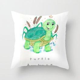 Turtle Nursery Illustration Throw Pillow