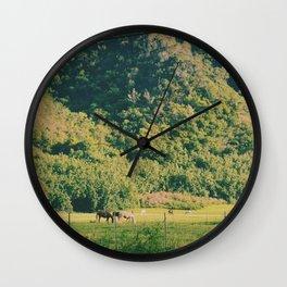 Field Of Horses Wall Clock