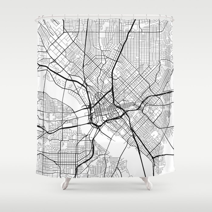 Dallas Map, USA - Black and White Shower Curtain by mainstreetmaps ...