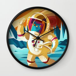 astronaut jumping on europe jupiter satellite surface Wall Clock