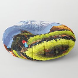 Panoramic View Of Beautiful Everest Mountain Floor Pillow