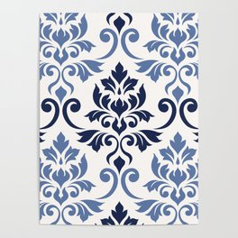 Feuille Damask Pattern Blues on Cream Poster
