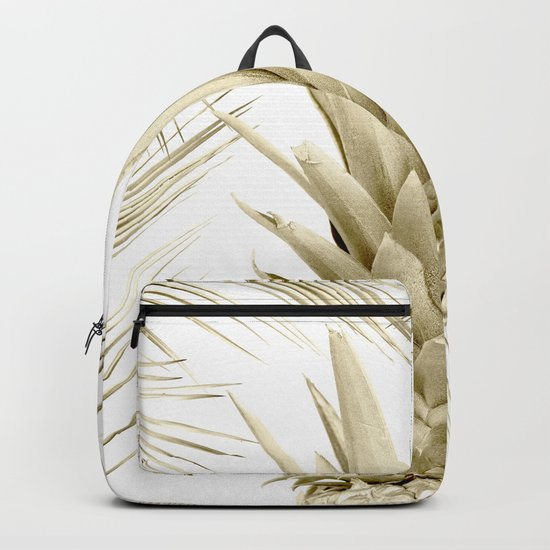 Gold Tropical Palm Pineapple Backpack