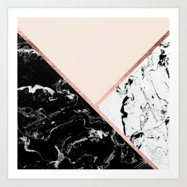 Modern black white marble rose gold color block stripes blush pink Art Print