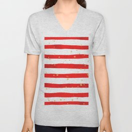 Modern hand painted red yellow watercolor stripes splatters Unisex V-Neck
