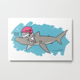 Shark Scooter Metal Print