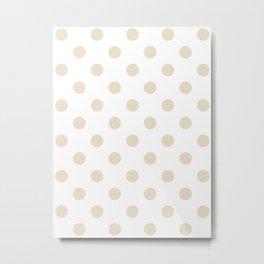 Polka Dots - Pearl Brown on White Metal Print