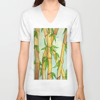 bamboo V-neck T-shirts featuring Bamboo by William Gushue