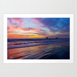 Huntington Beach Sunset   2/11/14  Art Print