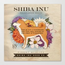 Shiba Inu Seed Company wildflower seed artwork by Stephen Fowler Canvas Print