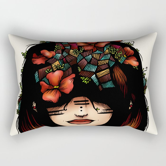 The girl who was thinking about geometry & red flowers Rectangular Pillow