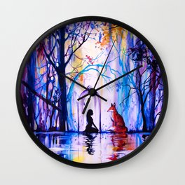 Soul reflection (The girl, the fox and the love) Wall Clock