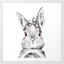 Bunny with Scarf Art Print