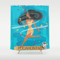 pocahontas Shower Curtains featuring Pocahontas by LindseyCowley