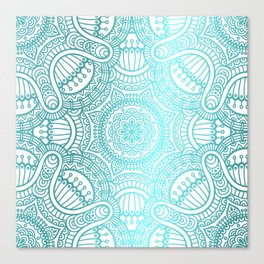 Turquoise Ethnic Pattern With Mandalas Canvas Print