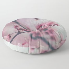 Pink Cherry Blossom On Branch Floor Pillow