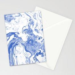 Marble Suminagashi indigo blue 2 watercolor pattern art pisces water wave ocean minimal design Stationery Cards