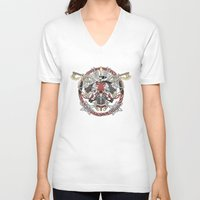 fight V-neck T-shirts featuring Fight by Red Serpent Art