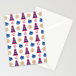 Modern blue red orange watercolor nautical pattern Stationery Cards