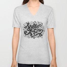 Hello Autumn handwritten lettering (black and white) Unisex V-Neck