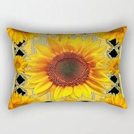 Western Black Golden Sunflowers Art Rectangular Pillow