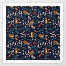 Fox and Hedgehog in Toadstool Woods In Blue Art Print