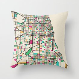 Colorful City Maps: Chicago, Illinois Throw Pillow