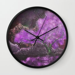 Surreal Impression of Japanese Maple Blossom in Purple Wall Clock