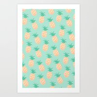 pineapple Art Prints featuring Pineapple   by Sibylline